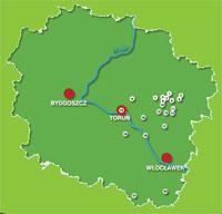 Mapa Szlak Fryderyka Chopina Kujawsko-Pomorskie