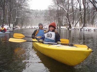 Zima spływ na rzece Brdzie Brda