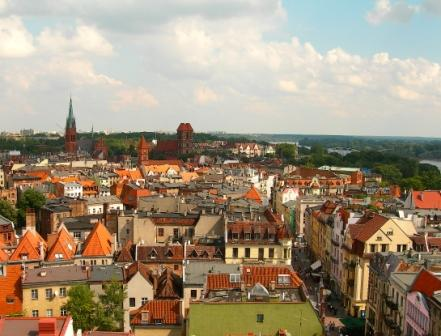 Widok z wieży Ratusza w Toruniu