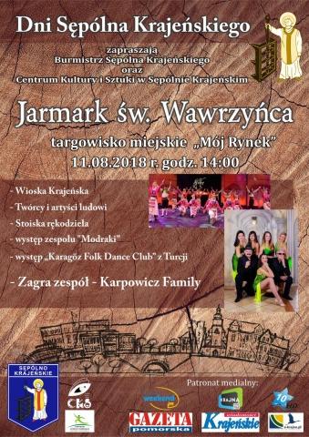 Plakat - XIV Jarmark św. Wawrzyńca w Sępólnie Krajeńskim