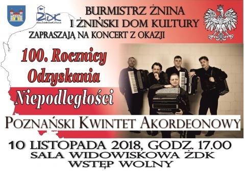 Galeria dla Koncert z okazji 100 rocznicy Odzyskania Niepodległości w wykonaniu Poznańskiego Kwintetu Akordeonowego